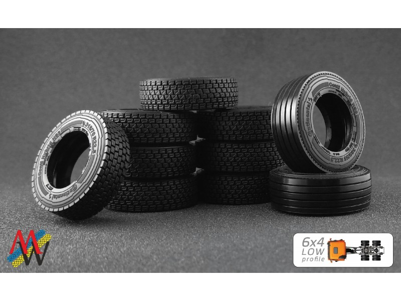 1:50 Tyre set 6x4  low profile