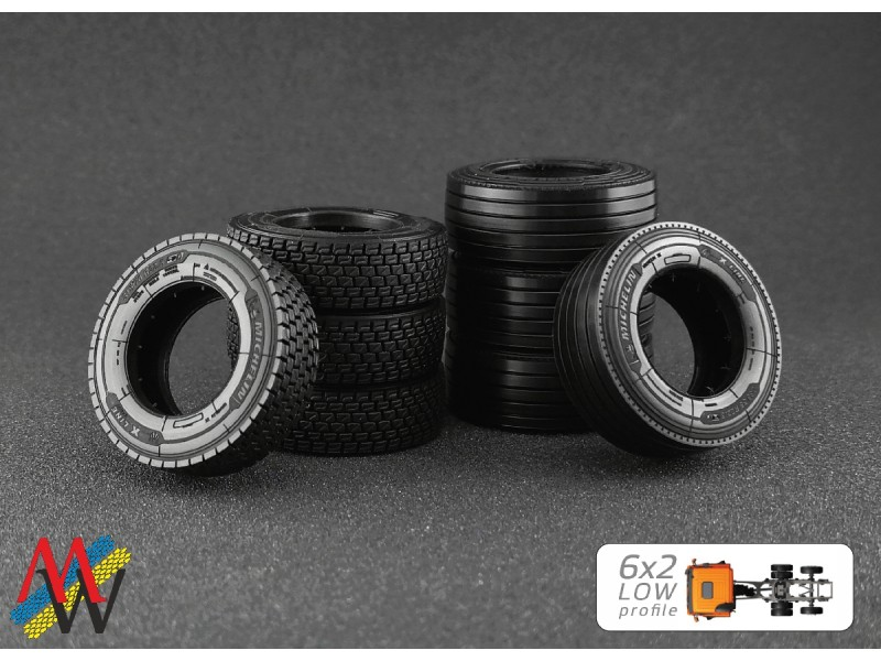 1:50 Tyre set 6x2 low profile