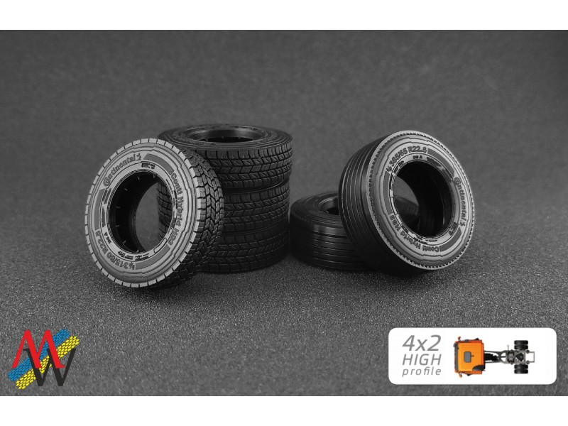 1:50 Tyre set 4x2 high profile