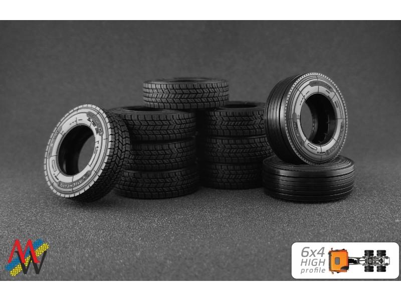 1:50 Tyre set 6x4  high profile