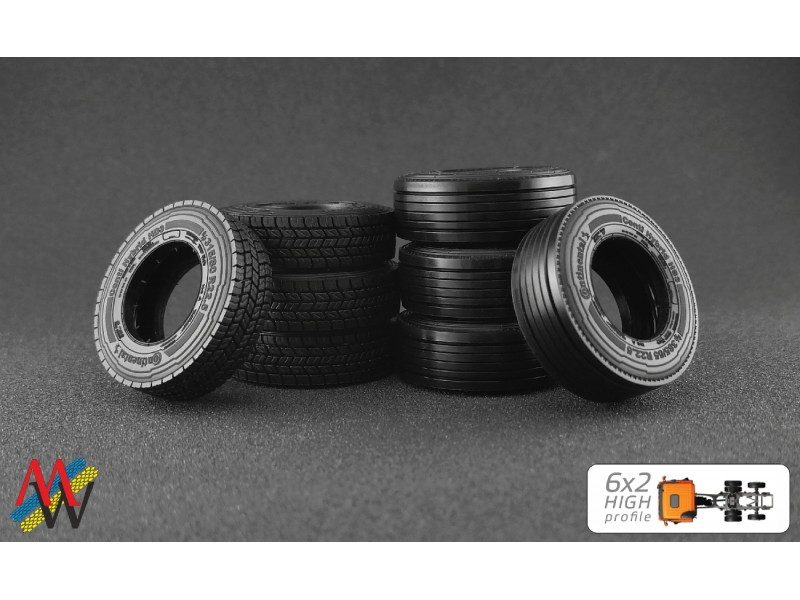 1:50 Tyre set 6x2 high profile