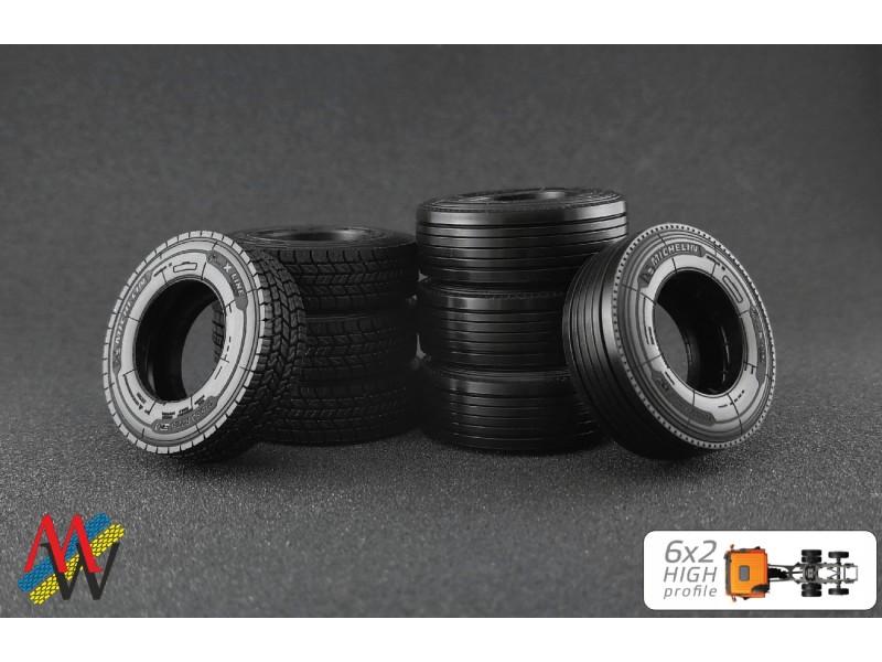 Maestro Wheels 1//50 Tyre Set 6x2 High profile for WSI Tekno etc.