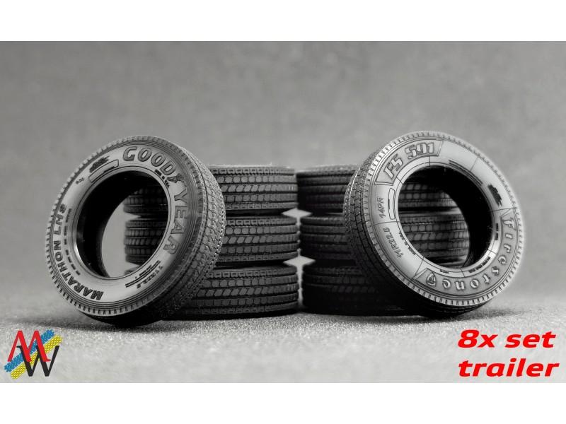 1:50 Tyre set 8x trailer